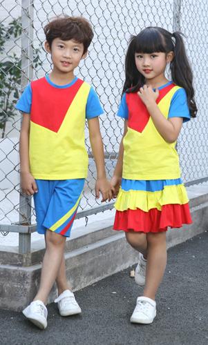 夏装幼儿园园服时尚学生校服套装定制AM17TZ047
