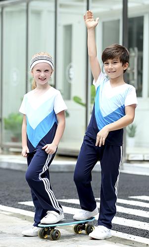 艾咪天使 夏款运动套装  纯色拼接中小学校服套装 厂家定制