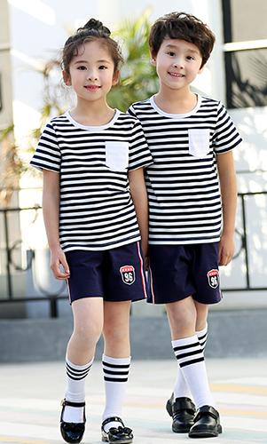 条纹短袖套装T恤校服 幼儿园贵族学校校服