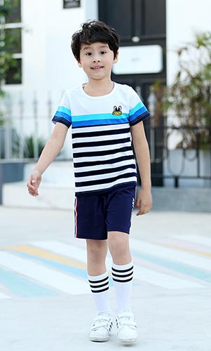 艾咪天使幼儿园园服夏季条纹运动园服套装