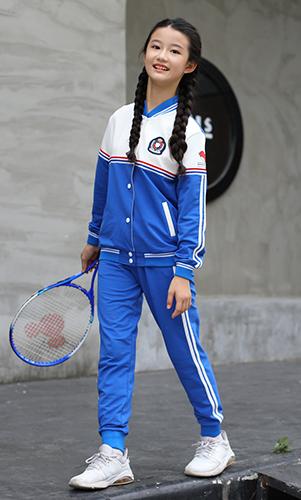 新款蓝色秋装校服套装