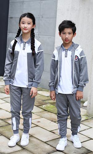 灰色秋装校服套装三件套