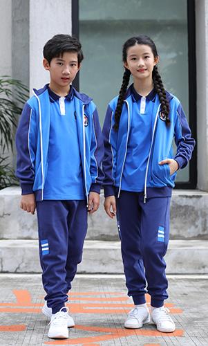 蓝色长袖秋冬校服套装