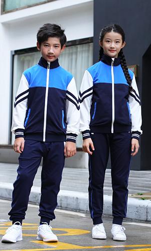 蓝色秋冬套装校服三件套