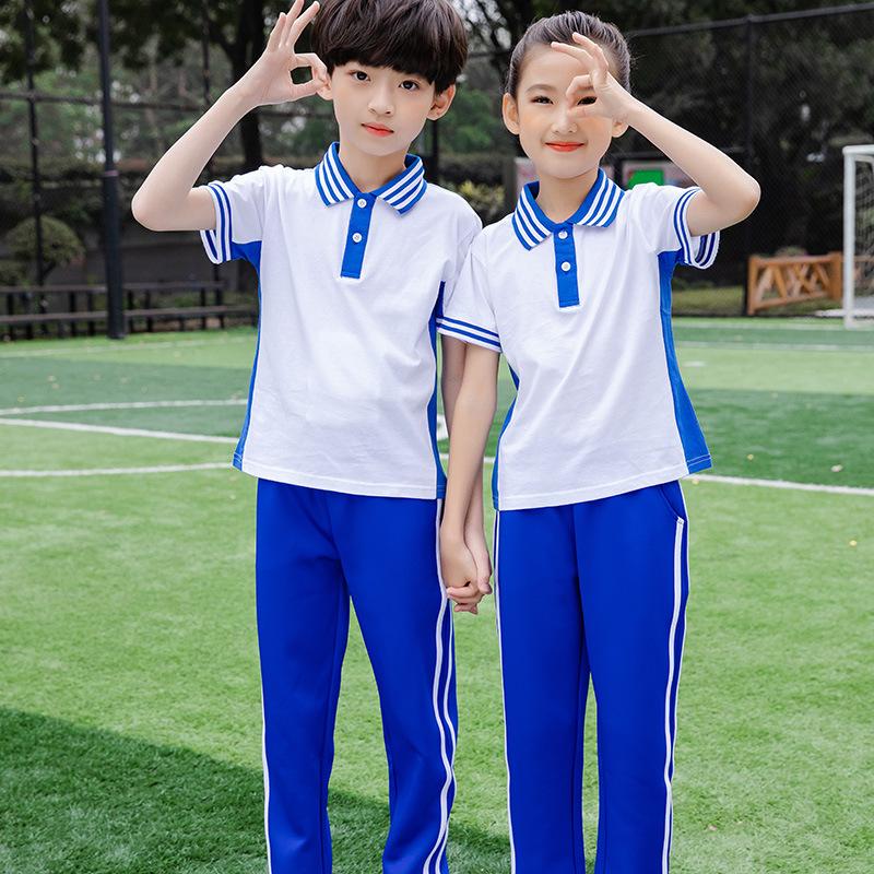 蓝白色儿童夏季短袖套装班服幼儿园园服定制