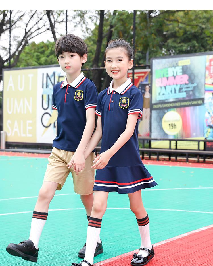 英伦风幼儿园园服儿童夏装短袖运动两件套班服工厂定制小学生校服