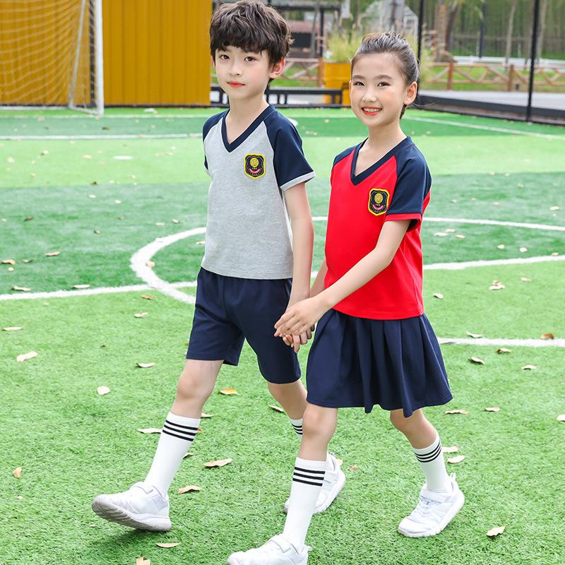 新款幼儿园园服V领短袖T恤儿童套装