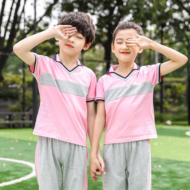 夏季幼儿园园服套装定制 新款儿童短袖T恤