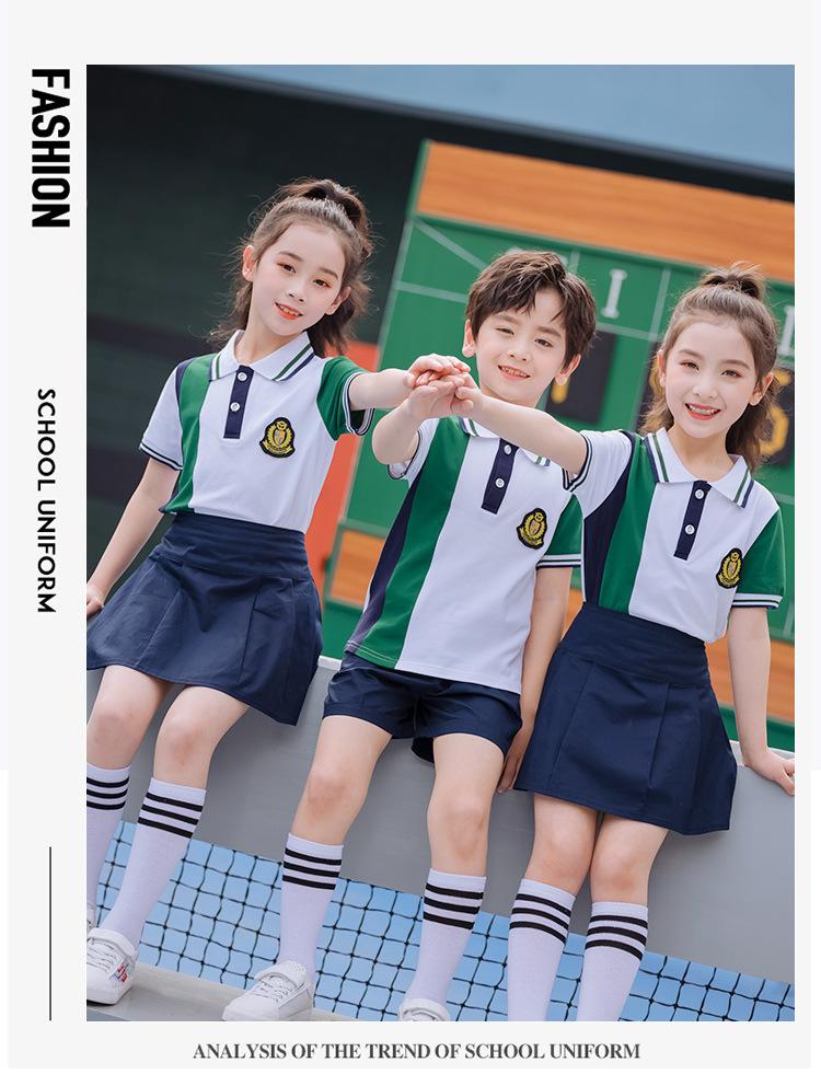 夏季新款纯棉短袖运动两件套校服园服定制