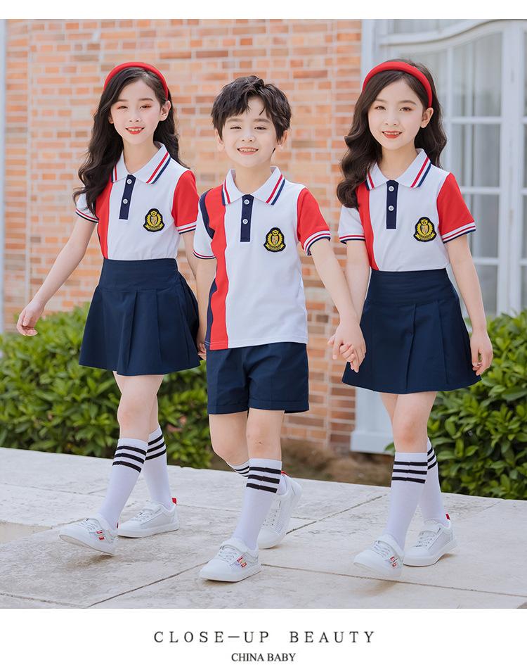 新款纯棉短袖运动套装幼儿园园服定制