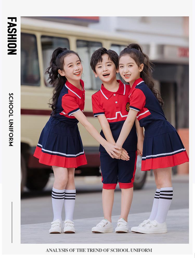 红色拼色园服套装中小学班服老师服定制
