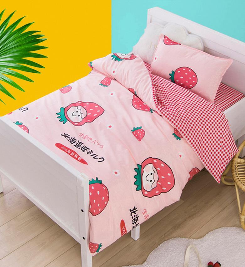 可爱草莓被子 中小学开学小清新被子三件套厂家定制