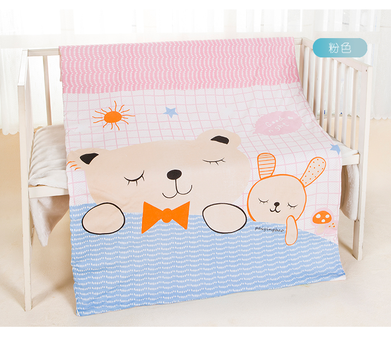 卡通格子小熊夏凉被 幼儿园婴儿午睡被 厂家定制