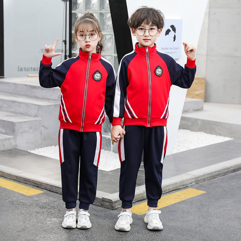 艾咪天使 红色丝盖棉幼儿园学院风运动套装