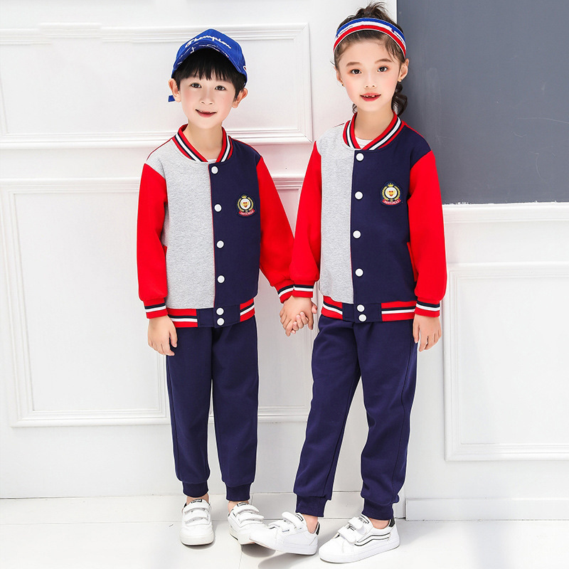 撞色运动棒球服 中小学校服幼儿园园服套装定制