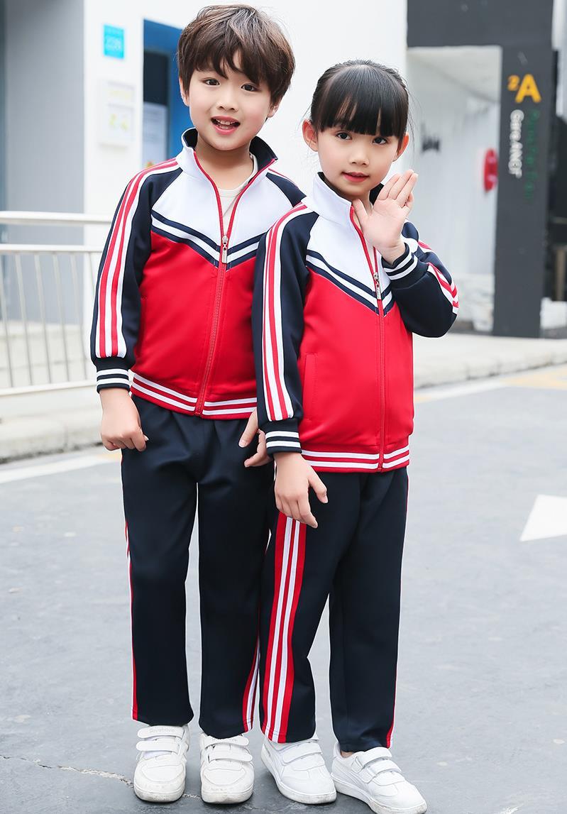 红色园服运动套装中小学生班服校服厂家定制