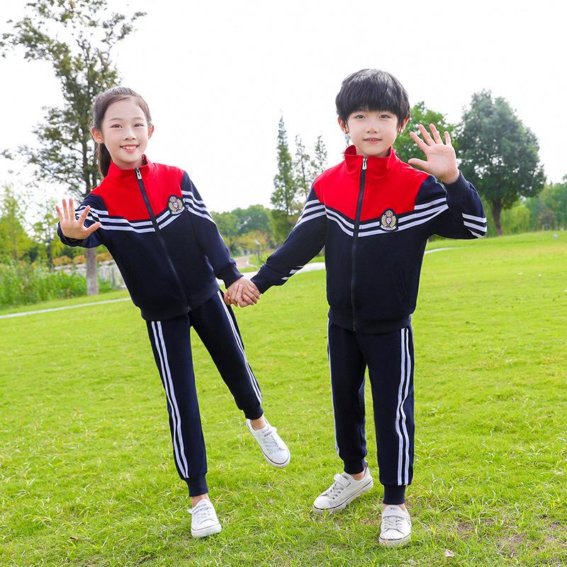 新款短袖拉链衫套装条纹运动服中小学校服套装