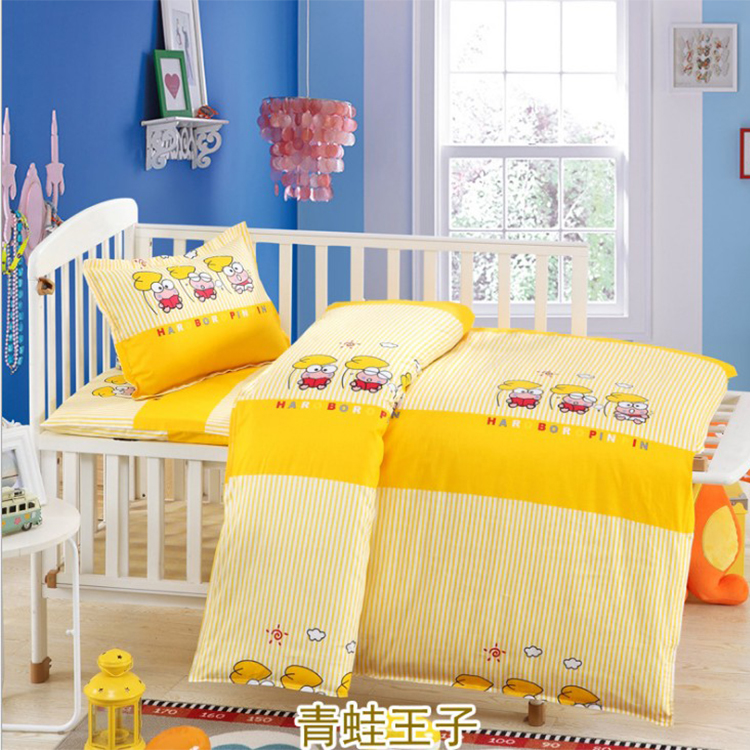 黄色青蛙王子被子套装 幼儿园入园被厂家定制