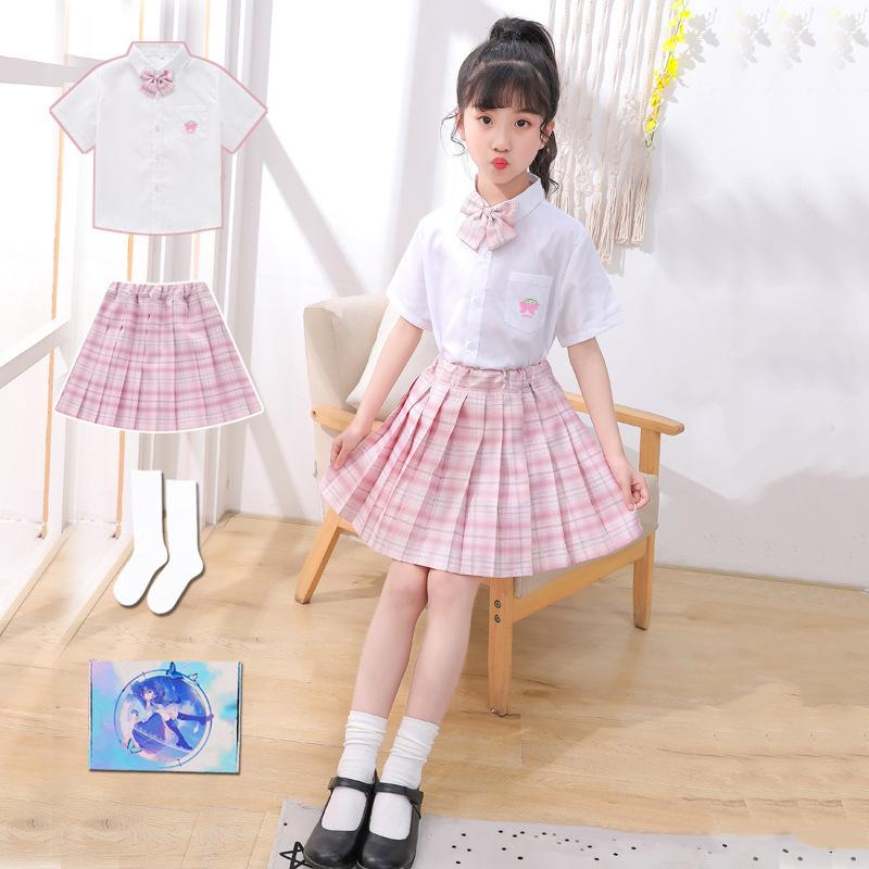 白色衬衫百褶裙套装 幼儿园演出服毕业服