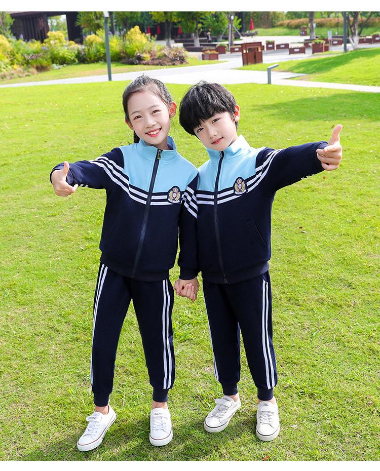 新款短袖拉链衫套装长袖条纹运动服中小学校服套装
