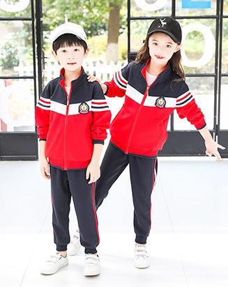 春秋季红色棉盖丝儿童运动套装班服幼儿园园服