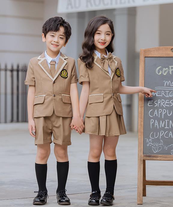 夏新款儿童卡其色短袖外套套装学院风幼儿园园服定制