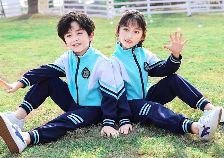 新款长袖蓝色拉链衫中小学运动套装校服