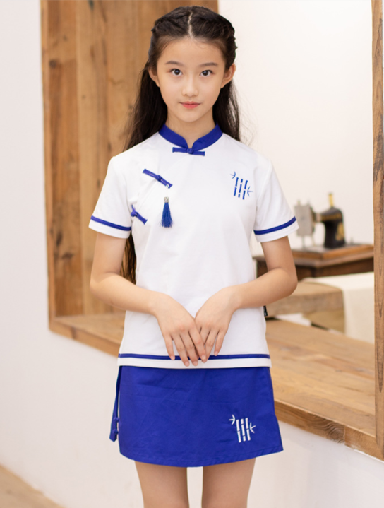 艾咪天使夏季立领民族风中小学运动套装校服