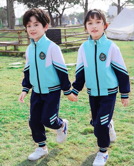 秋冬新款蓝色拉链衫运动套装学院风幼儿园园服