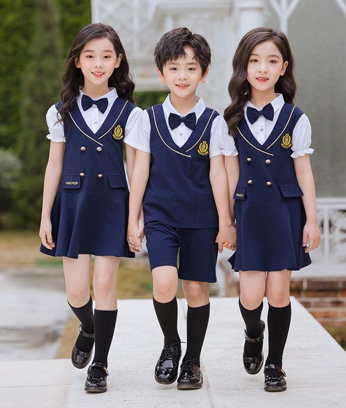 艾咪天使夏季新款英伦风幼儿园园服毕业礼服套装