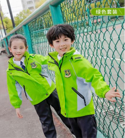 秋冬季儿童冲锋衣套装幼儿园园服三件套