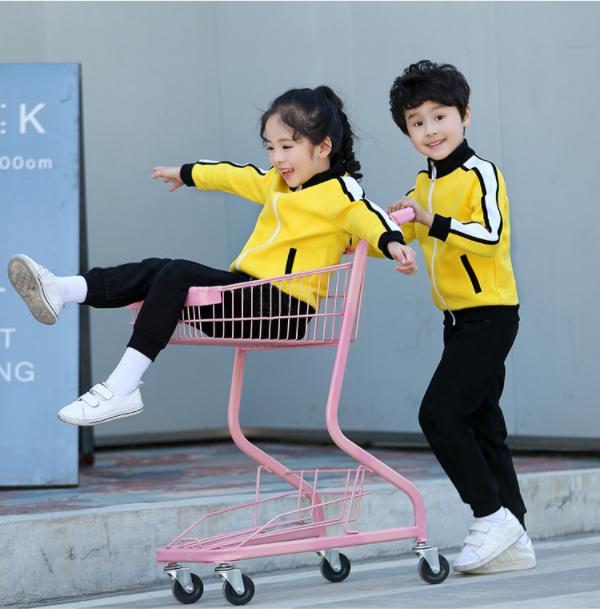 黄色金光绒儿童运动套装 幼儿园园服厂家定制