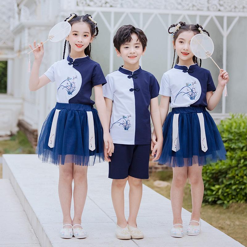 艾咪天使幼儿园汉服风套装 儿童民族风演出服