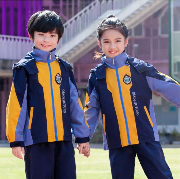 蓝色秋冬季幼儿园冲锋衣园服拼色儿童冲锋衣套装