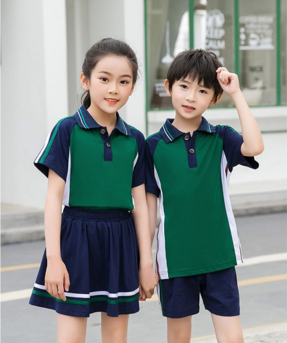 夏季中小学红白拼色运动套装师生同款校服班服