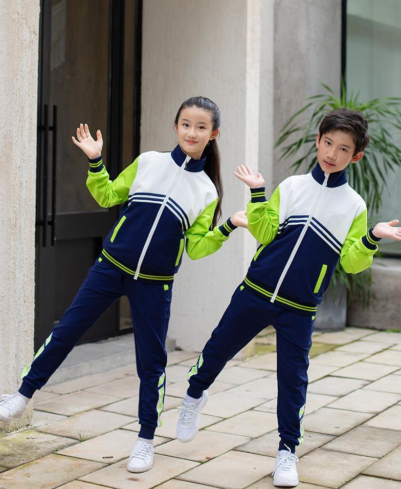 艾咪天使春秋季中小学生绿色拉链衫校服班服套装