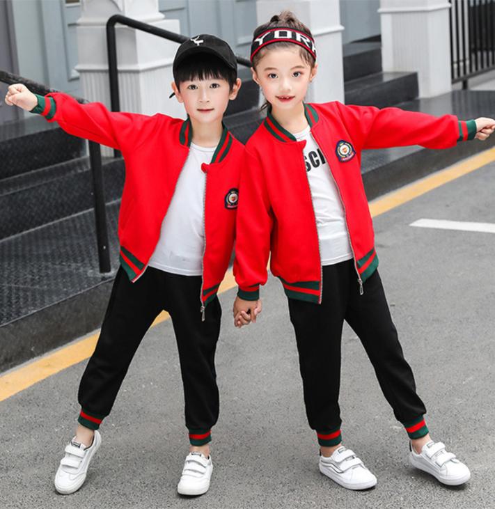 秋冬季红色幼儿园园服儿童校服运动套装